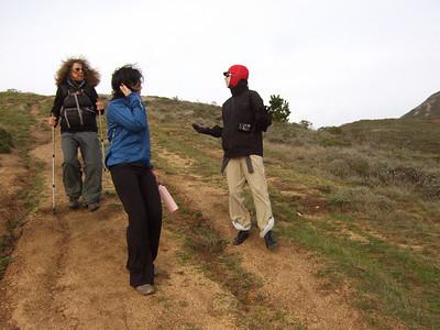Hike with Joel McEwen's girl friend, center, Jean Marie Offenbacher, right and my wife Eva Strauss-Rosen, left. Moss Beach Trails. Dec 27, 2010.