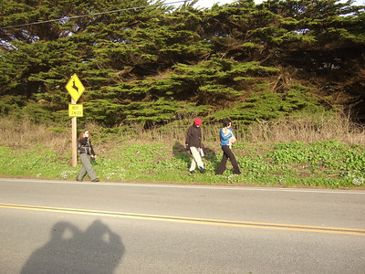 Eva Strauss-Rosen, left, Jean Marie Offenbacher, center, Joel McEwen's girlfriend, right, holding dog. Hike with Joel McEwen, girl friend, Jean Marie Offenbacher and my wife Eva Strauss-Rosen. Moss Beach Trails. Dec 27, 2010.