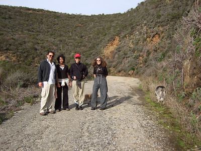 Joel McEwen, left, girlfriend, Jean Marie Offenbacher, Eva Strauss-Rosen. Hike with Joel McEwen, girl friend, Jean Marie Offenbacher and my wife Eva Strauss-Rosen. Moss Beach Trails. Dec 27, 2010.