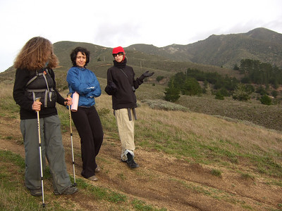 Hike with Joel McEwen's girl friend, center, Jean Marie Offenbacher, right and my wife Eva Strauss-Rosen, left. Moss Beach Trails. Dec 27, 2010.