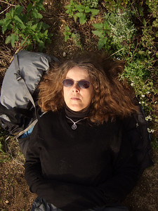 Eva Strauss-Rosen. Hike with Joel McEwen, girl friend, Jean Marie Offenbacher and my wife Eva Strauss-Rosen. Moss Beach Trails. Dec 27, 2010.