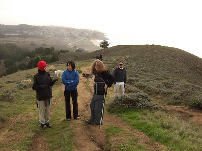 Hike with Joel McEwen, right, girl friend, Jean Marie Offenbacher, left and my wife Eva Strauss-Rosen, 2nd on right. McEwen's girlfriend 2nd on left. Moss Beach Trails. Dec 27, 2010.