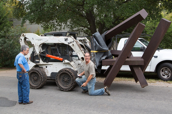 Moving of Vogelson's Sculpture