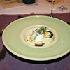 """""""Zeetong reepjes met muntblaadjes gevuld in zilt oester court-bouillon gepocheerd met kapperappeltjes, kaasschaafsel en brunoise van pompoen"""""""