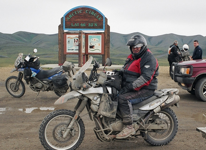 My favorite photo of Ned... when we reached the arctic circle on the Dempster Highway
