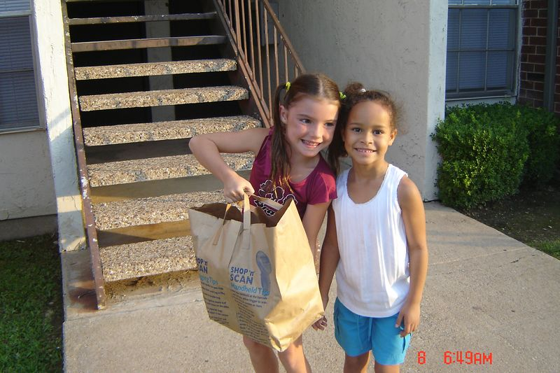 Riley S bringing goodies for new friend Kacie
