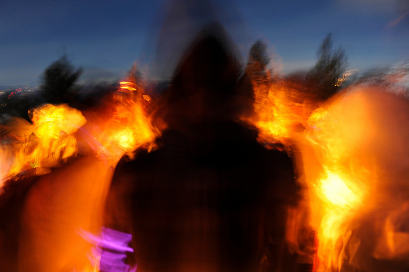 New year's eve fire celebration at Chickadee Ridge, Lake Tahoe