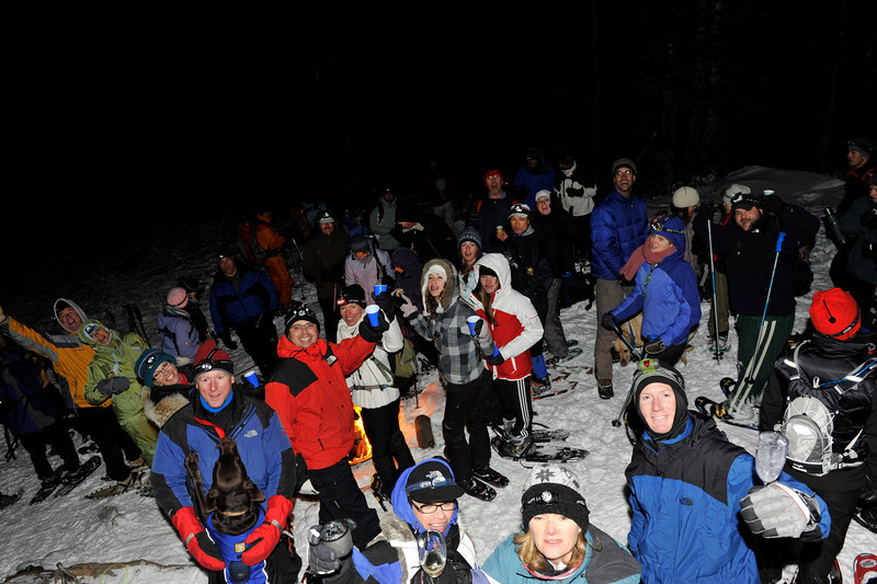 The group. There must had been about 50 participants in the moonlight new year's even snowshoe, Dec 31, 2009.