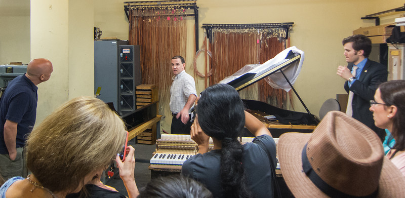 Retail workshop in basement.  Steinway's retail technician explained what they do in the shop and patiently answered our questions