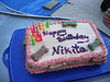 We celebrated Nikki's 13th birthday with all the dogs, cake and presents.  The cake was carrot/peanut butter.