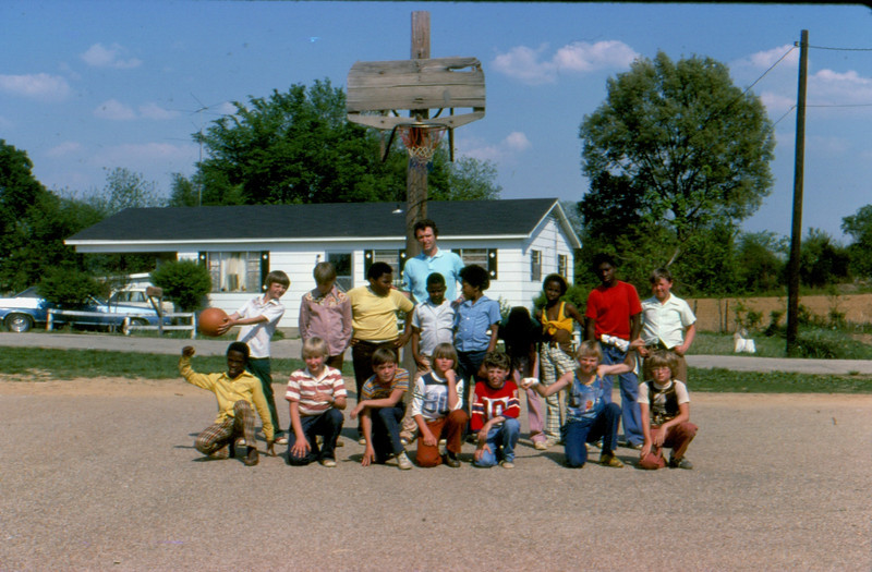 1. Mostly, I remember how the kids loved recess. Me, too. We didn't have the best in playground equipment, but the kids had heart, and that goes a long way. Basketball was always REALLY popular!<br /> TOP LEFT: Mark Moyers, Kurt Williams, Greg Thorpe, James Patterson, Daniel _____, maybe Greg Hill, Marvin Mullins (lived across the street from the school), Chris Perry, Tracy Jaynes.<br /> FRONT LEFT: Kirk Walker, David Hulme, James Howell,  Calvin Porter,  Glenn Phelps, Brian Morris, Tony Boyd.
