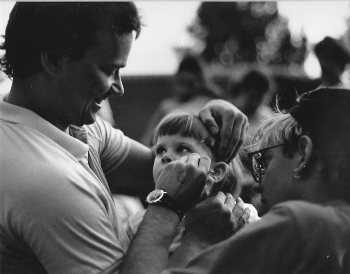 Another yearbook shot.  Taken my sophomore year IIRC.  Scott Aschenbrenner (sorry if I misspelled that!) painting the face of a young visitor at an ice cream social held at Normandy School in Bay Village.  This would have been about 1990 or 1991 I'm guessing.