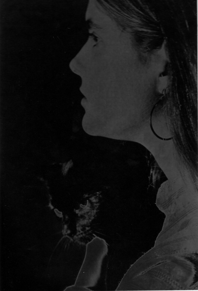 Mandy and Miles.  Miles as Matt's cat and Mandy was Steve's girlfriend.  Since it's a solarized print there's no way to scan from the negative - and the print is in a mount that makes getting it on the scanner hard.  So it's not a very good scan at all.