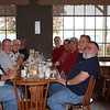 From the left around the table:  Ron Wolford, Gary Sherrill, John Allen, Tom StClair (the bald dude), Tom Watley, Bud Dodrill, Gary Harris, Joe Thomas, Dave Bradley, Roy Prough (fuzy gray bearded one).  :-)
