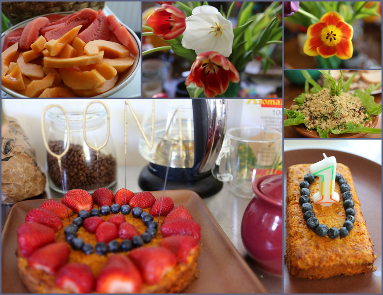 Colorful foods, flowers and cake too !!