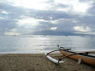 Lahaina sky with catamaran