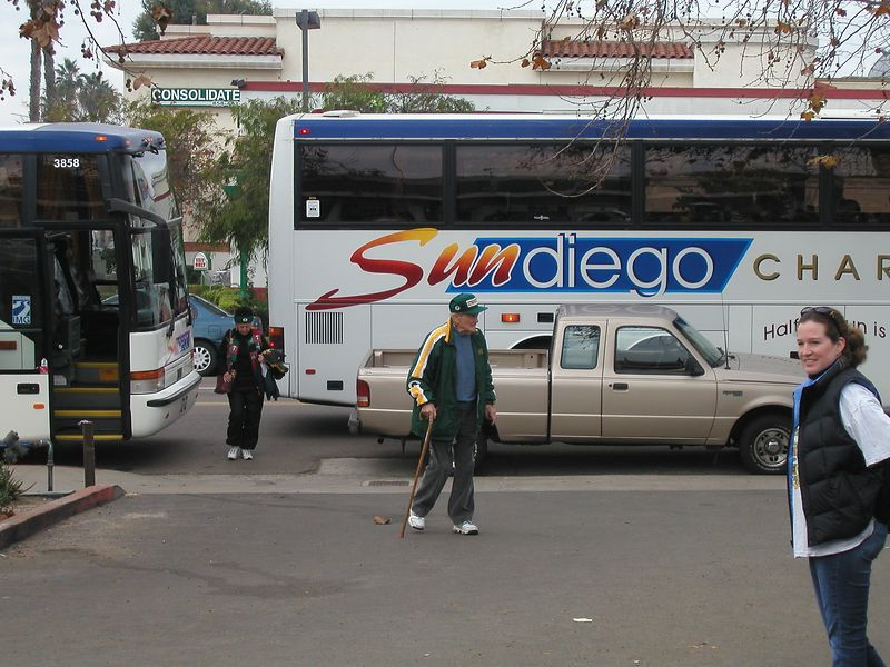 "We took busses to the game.  - Check out this seasoned Packer fan.  ""Go . . . . . . . The Packers!"""
