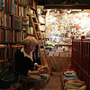 Day 1-Shakespeare and Company, Tina amongst the stacks upstairs
