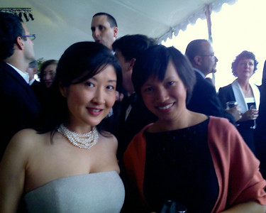 Lucy and Anh comparing baby notes at the reception