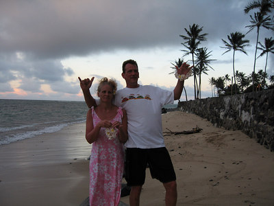 Pat and Donna on Swanzy Beach preparing to throw in some tiny lei's, to ensure that they return to Hawaii