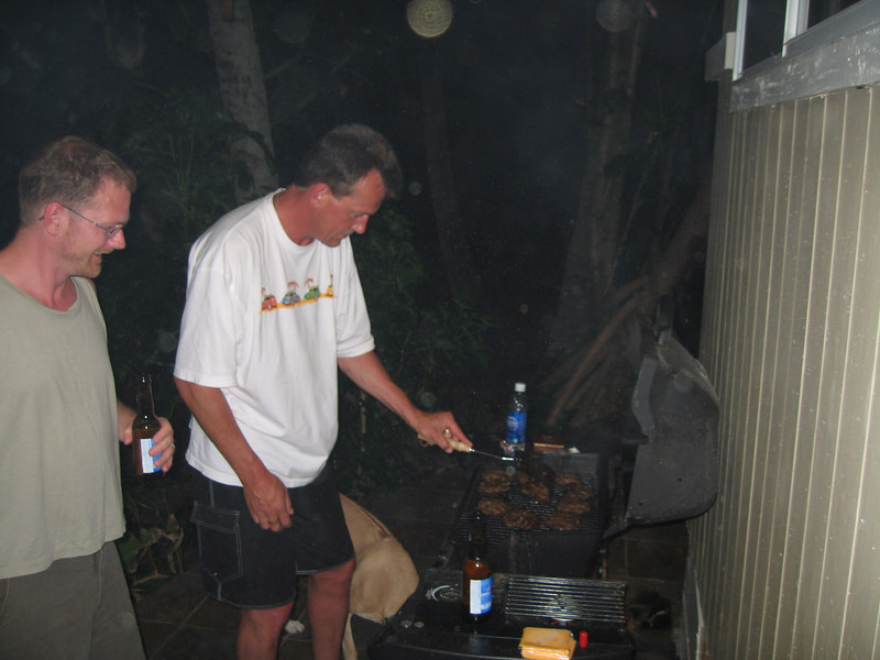 The gentlemen cook up some of Donna's fabulous burgers.