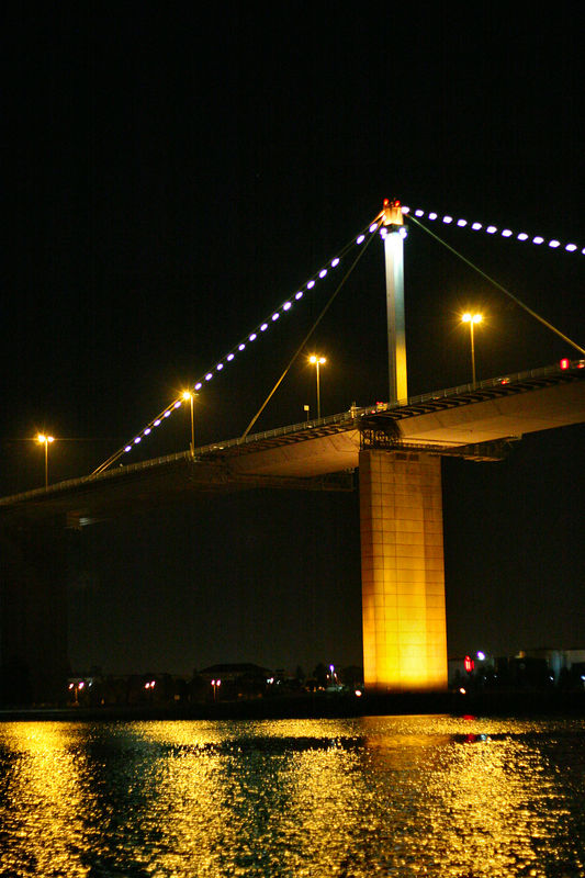 The Westgate Bridge at night.