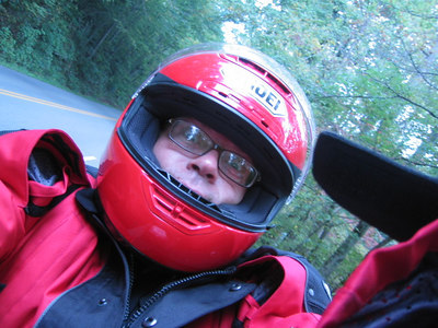 Mark Berlinski in helmet at deals gap (actually I think it was blue ridge parkway)