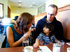 Zoey and her friends Steph and Paul at pancake brunch.