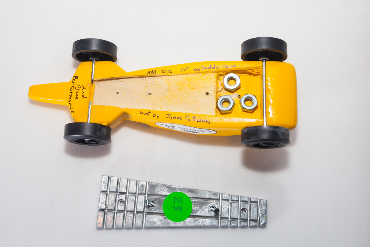 """E-lemon-8r with its 2oz plate removed to reveal additional ballast. Car could be 5oz but not over. Car weighed in at 4.998oz with the 3 1/4"""" nuts tucked away for the ride."""