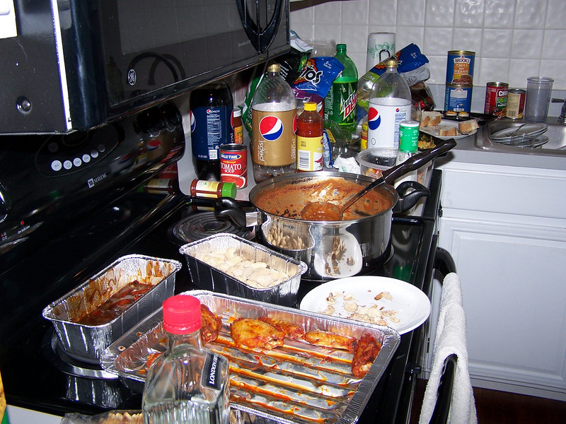 We had it all. From chili and chicken wings to deviled eggs...by the end of the evening it would have been nice to have had some air freshener...It was like that famous scene from Blazing Saddles...More beans tagart! LOL...