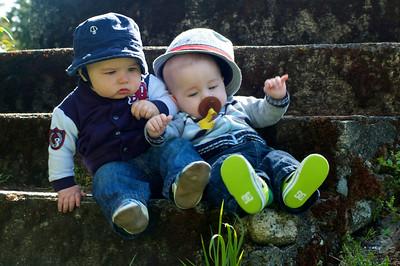 Edmund and Emrys tipping over . . .