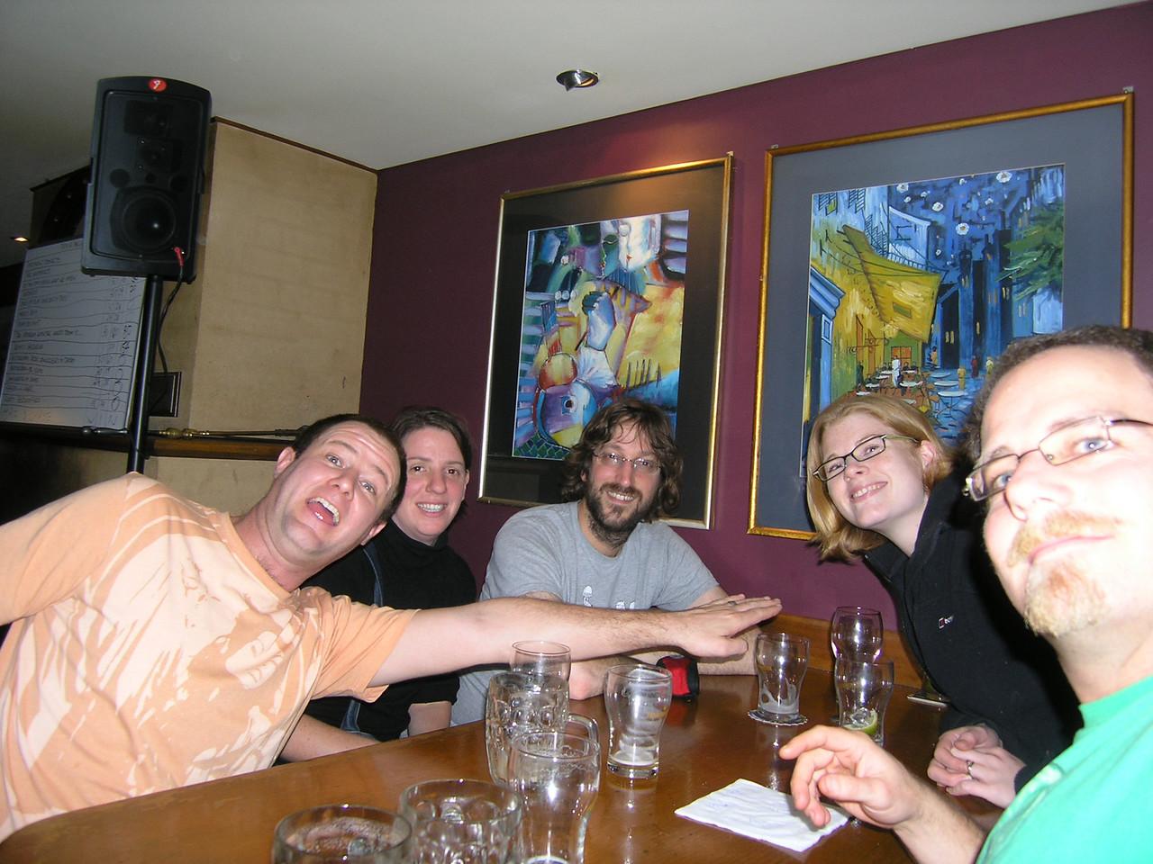 Pub quiz at The Duke: Don, Holly, Simon, Christine, Simon.  Our team name is Aeroflot, coz we always go down.