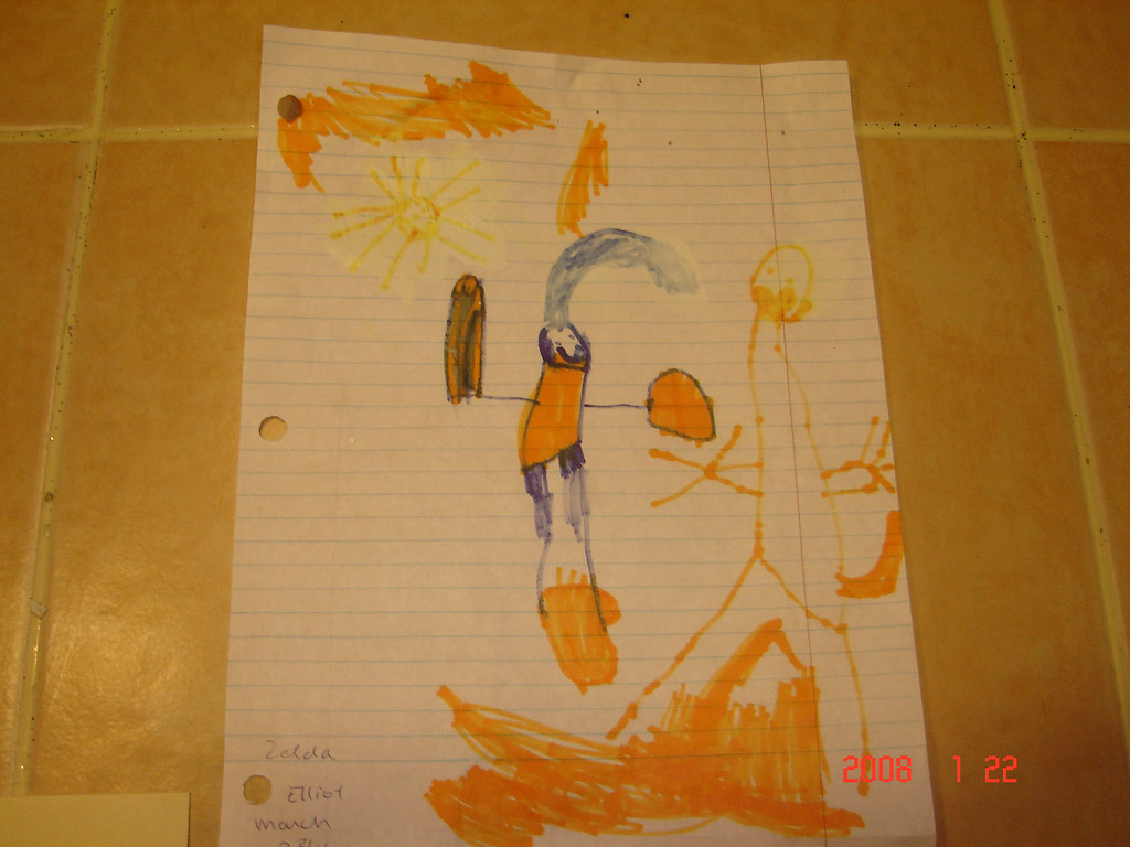 Elliot's zelda.  This picture is covered in white out to cover up his mistakes.