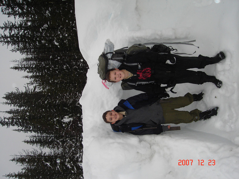 Chris snow camping with Boy Scouts.