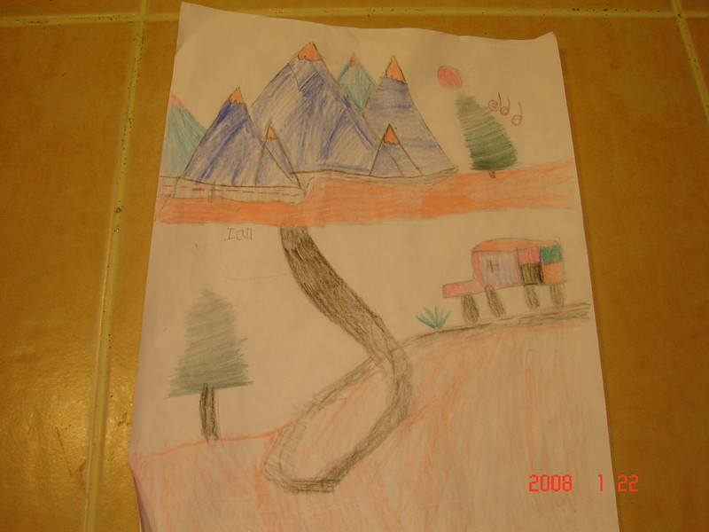 Ian's drawing of his trip up to Mt. Hood. 7 yrs.