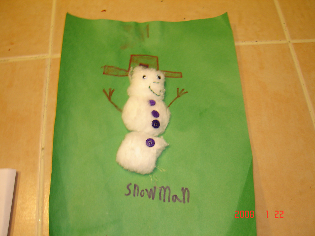 Ian's snowman made at Hawthorn.