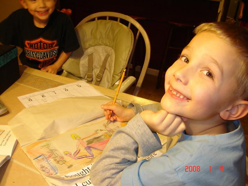 7 year old Ian drawing..