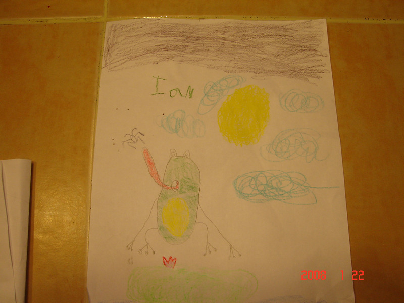 "This hung behind Wort's cage to ""give him company""  Ian was in Kindergarten, 6 years old."