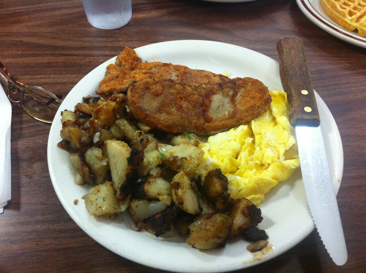 My birthday breakfast at Tal's--feat. Grilled Chicken sausage, home fries and eggs. NOT MY WAFFLE!  lol