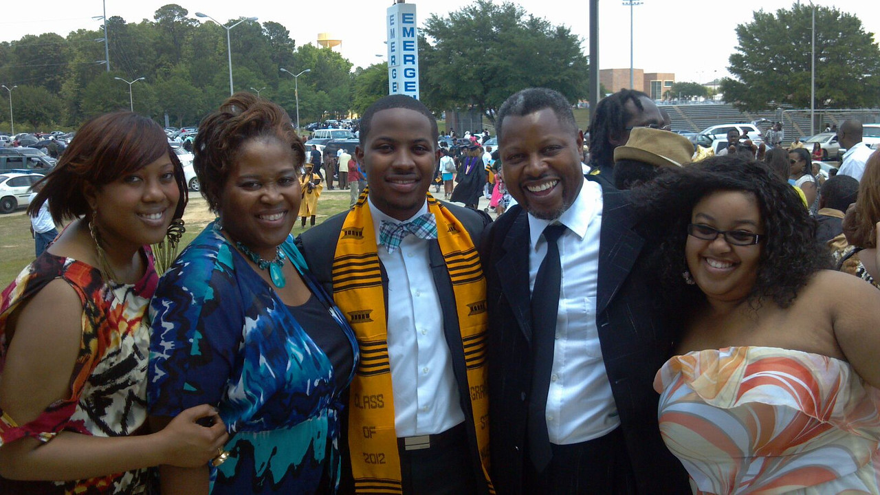 Sherry Howard and I have been friends since our kids ran Westchester H.S....They now reside in TX but here they support their graduating son.  From left: Erika, Sherry (Proud Mama), Cameron, the graduate from Grambling, Proud Papa and sister Adrienne.