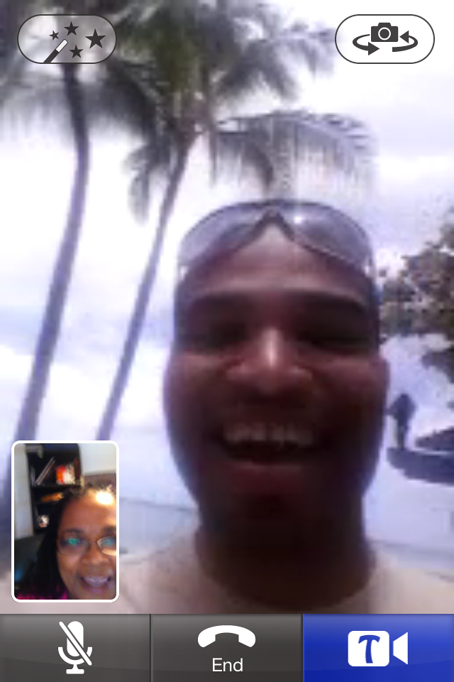 Ayo in Hawaii (Waikiki), video talking to me via the app Tango!  Do you Tango?