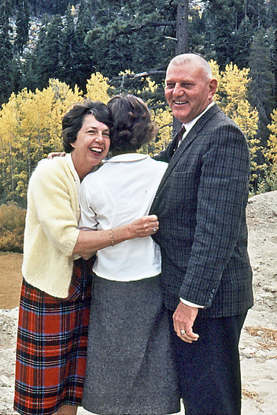 Maxine & Stew Bagley hug Cherry, Lake Tahoe, Ca.