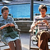 Grandma Dorothy Johnson & Maxine Bagley knitting on the patio, Tustin, Ca.