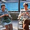 Grandma Dorothy Johnson & Maxine Bagley knitting on the patio, Tustin, Ca.