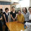 Cooling down in the WFC Dining Area - L-R  Kazue Tamaru & Yasuyo Shimamure, WFC-Shudo University Interns,  Naomi Kurihara, WFC Staff,  Sora Sensei, Sachiko  Hiraoka, Mieko Yamashita
