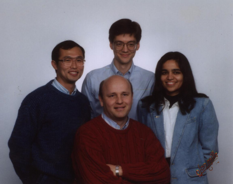 Photo of OMI staff ~1993, Ing-Tsau Chiu (left), Chris Atwood (back), Kalpana Chawla (right), Robert Meakin (front).