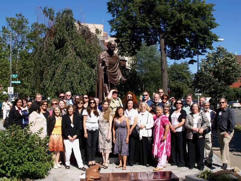 Alumni with Mahatma Gandhi at the Indian Embassy, Washington, DC, July 2, 2010