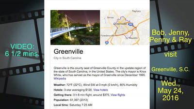 VIDEOL  6 1/2 minutes--Downtown Greenville, S.C.--Click on image above and then on triangle and video will play.