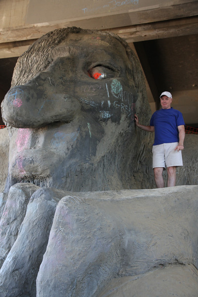 Patrick at the Fremont Troll.