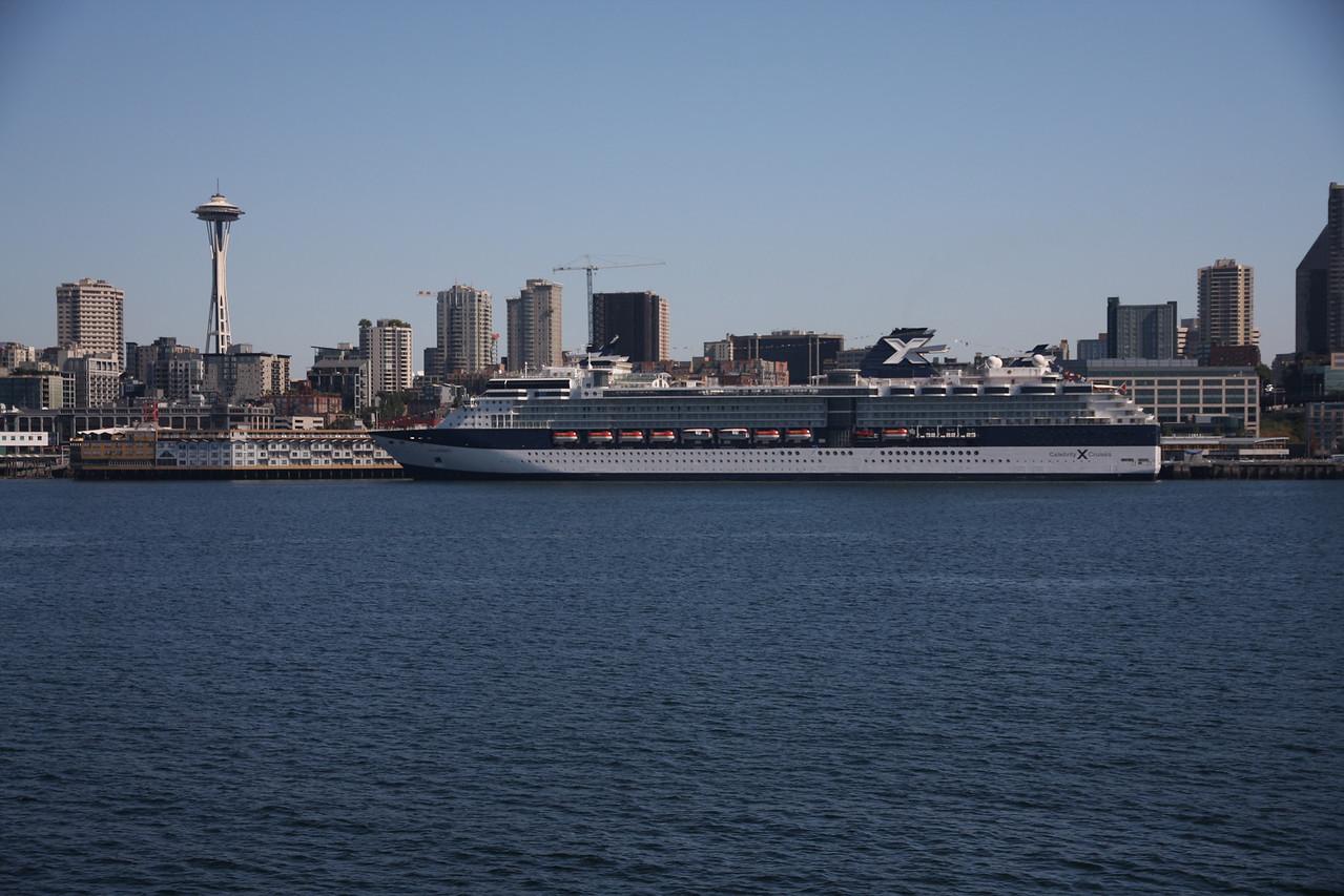 Space Needle & big ship.